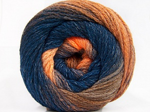 Fiber Content 90% Acrylic, 10% Polyamide, Orange Shades, Navy, Brand ICE, Yarn Thickness 4 Medium  Worsted, Afghan, Aran, fnt2-58121