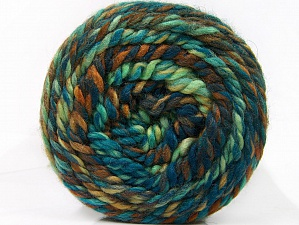 Fiber Content 70% Acrylic, 30% Wool, Turquoise, Brand ICE, Green Shades, Brown Shades, Yarn Thickness 6 SuperBulky  Bulky, Roving, fnt2-58158