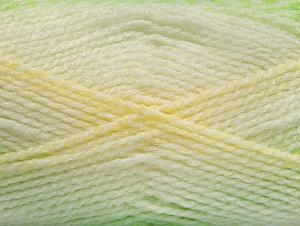 Note that this is a self-stripping yarn. Please see package photos for the color change. Machine washable and dryable. Fiber Content 100% Acrylic, Yellow, White, Light Green, Brand ICE, Yarn Thickness 3 Light  DK, Light, Worsted, fnt2-58194