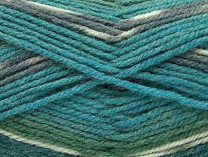 Fiber Content 50% Wool, 50% Acrylic, Turquoise, Brand ICE, Grey, Green Shades, Yarn Thickness 4 Medium  Worsted, Afghan, Aran, fnt2-58287