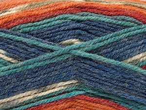 Fiber Content 50% Wool, 50% Acrylic, Turquoise Shades, Orange Shades, Khaki, Brand ICE, Yarn Thickness 4 Medium  Worsted, Afghan, Aran, fnt2-58290