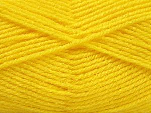 Fiber Content 50% Wool, 50% Acrylic, Yellow, Brand ICE, Yarn Thickness 4 Medium  Worsted, Afghan, Aran, fnt2-58378