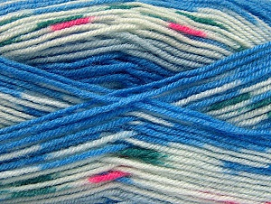 Fiber Content 75% Acrylic, 25% Wool, White, Brand ICE, Blue, Yarn Thickness 3 Light  DK, Light, Worsted, fnt2-58388