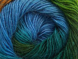 Fiber Content 60% Premium Acrylic, 20% Wool, 20% Alpaca, Turquoise, Brand ICE, Green Shades, Gold, Blue, fnt2-58398