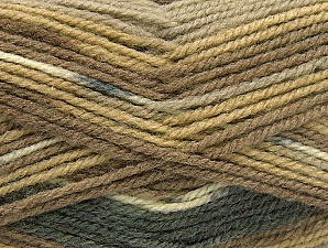 Fiber Content 50% Wool, 50% Acrylic, Brand ICE, Grey, Cream, Brown Shades, Yarn Thickness 4 Medium  Worsted, Afghan, Aran, fnt2-58451