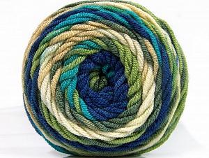 Fiber Content 100% Acrylic, Turquoise, Navy, Brand ICE, Green, Cream, Yarn Thickness 4 Medium  Worsted, Afghan, Aran, fnt2-58458