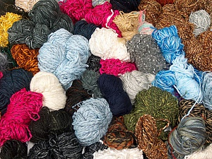 Leftover Yarns This mixed lot includes unlabeled leftover yarns. There is no standard for fiber content and weight. The total weight is 2000 gr (70.5 oz.). Brand ICE, fnt2-58652