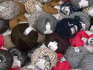 Winter Yarns This mixed lot includes a total of 2000 gr (70.5 oz.) leftover yarns. There is no standard for fiber content and weight. Also disregard any information on the labels. You will get what you see in the photo. Brand ICE, fnt2-58703