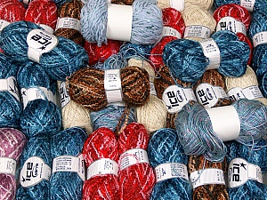 Fancy Yarns This mixed lot includes a total of 2000 gr (70.5 oz.) leftover yarns. There is no standard for fiber content and weight. Also disregard any information on the labels. You will get what you see in the photo. Brand ICE, fnt2-58712