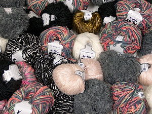 Fancy Yarns This mixed lot includes a total of 2000 gr (70.5 oz.) leftover yarns. There is no standard for fiber content and weight. Also disregard any information on the labels. You will get what you see in the photo. Brand ICE, fnt2-58717