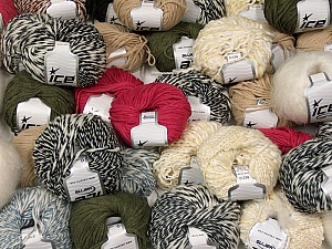 Winter Yarns This mixed lot includes a total of 2000 gr (70.5 oz.) leftover yarns. There is no standard for fiber content and weight. Also disregard any information on the labels. You will get what you see in the photo. Brand ICE, fnt2-58761