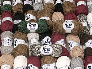 Fancy Yarns This mixed lot includes a total of 2000 gr (70.5 oz.) leftover yarns. There is no standard for fiber content and weight. Also disregard any information on the labels. You will get what you see in the photo. Brand ICE, fnt2-58765