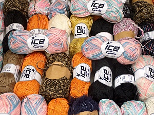 Fancy Yarns This mixed lot includes a total of 2000 gr (70.5 oz.) leftover yarns. There is no standard for fiber content and weight. Also disregard any information on the labels. You will get what you see in the photo. Brand ICE, fnt2-58768