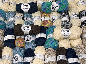 Fancy Yarns This mixed lot includes a total of 2000 gr (70.5 oz.) leftover yarns. There is no standard for fiber content and weight. Also disregard any information on the labels. You will get what you see in the photo. Brand ICE, fnt2-58771