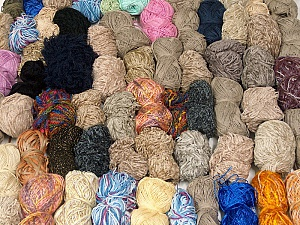 Leftover Yarns This mixed lot includes unlabeled leftover yarns. There is no standard for fiber content and weight. The total weight is 2000 gr (70.5 oz.). Brand ICE, fnt2-58784
