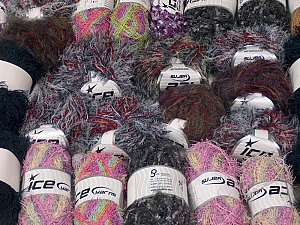 Fancy Yarns This mixed lot includes a total of 2000 gr (70.5 oz.) leftover yarns. There is no standard for fiber content and weight. Also disregard any information on the labels. You will get what you see in the photo. Brand ICE, fnt2-58790