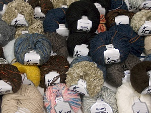 Fancy Yarns This mixed lot includes a total of 2000 gr (70.5 oz.) leftover yarns. There is no standard for fiber content and weight. Also disregard any information on the labels. You will get what you see in the photo. Brand ICE, fnt2-58795