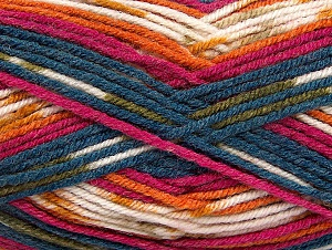 Fiber Content 75% Acrylic, 25% Wool, White, Teal, Orange, Khaki, Brand ICE, Fuchsia, Yarn Thickness 4 Medium  Worsted, Afghan, Aran, fnt2-59058