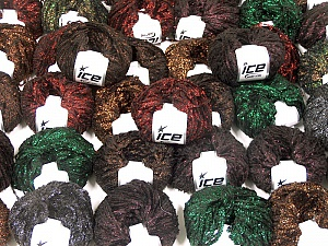 Metallic Yarns This mixed lot includes a total of 2000 gr (70.5 oz.) yarn. There is no standard for ball weight. Also disregard any information on the labels. You will get what you see in the photo. Brand ICE, fnt2-59269