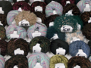Fancy Yarns This mixed lot includes a total of 2000 gr (70.5 oz.) yarn. There is no standard for ball weight. Also disregard any information on the labels. You will get what you see in the photo. Brand ICE, fnt2-59271