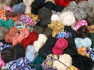 Leftover Yarns This mixed lot includes unlabeled leftover yarns. There is no standard for fiber content and ball weight. The total weight is 2000 gr (70.5 oz.). Brand ICE, fnt2-59280