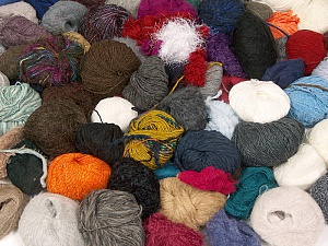 Leftover Yarns This mixed lot includes unlabeled leftover yarns. There is no standard for fiber content and ball weight. The total weight is 2000 gr (70.5 oz.). Brand ICE, fnt2-59285