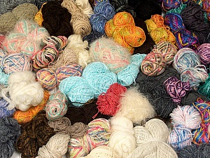 Leftover Yarns This mixed lot includes unlabeled leftover yarns. There is no standard for fiber content and ball weight. The total weight is 2000 gr (70.5 oz.). Brand ICE, fnt2-59300
