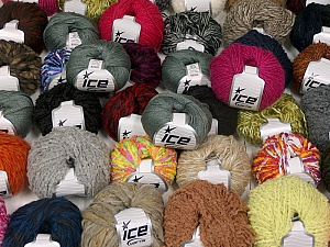 Winter Yarns This mixed lot includes a total of 2000 gr (70.5 oz.) yarn. There is no standard for ball weight. Also disregard any information on the labels. You will get what you see in the photo. Brand ICE, fnt2-59435