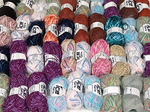 Fancy Yarns This mixed lot includes a total of 2000 gr (70.5 oz.) yarn. There is no standard for ball weight. Also disregard any information on the labels. You will get what you see in the photo. Brand ICE, fnt2-59456
