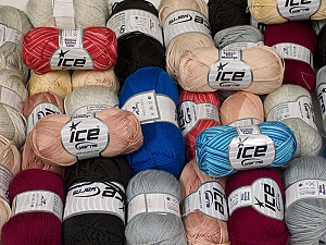 Summer Yarns This mixed lot includes a total of 2000 gr (70.5 oz.) yarn. There is no standard for ball weight. Also disregard any information on the labels. You will get what you see in the photo. Brand ICE, fnt2-59469