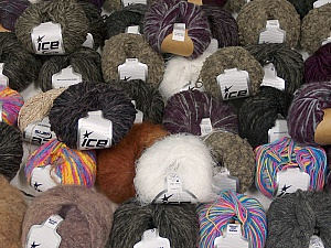 Fancy Yarns This mixed lot includes a total of 2000 gr (70.5 oz.) yarn. There is no standard for ball weight. Also disregard any information on the labels. You will get what you see in the photo. Brand ICE, fnt2-59477