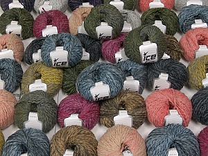 Sale Winter This mixed lot includes a total of 2000 gr (70.5 oz.) yarn. There is no standard for ball weight. Also disregard any information on the labels. You will get what you see in the photo. Fiber Content 45% Acrylic, 45% Wool, 10% Polyamide, Brand ICE, fnt2-59658