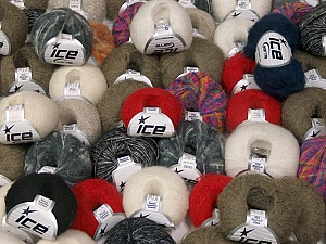 Winter - Mohair Yarns This mixed lot includes a total of 2000 gr (70.5 oz.) yarn. There is no standard for ball weight. Also disregard any information on the labels. You will get what you see in the photo. Brand ICE, fnt2-59663