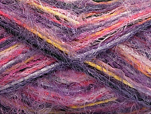 Fiber Content 60% Acrylic, 40% Polyamide, Yellow, White, Purple, Pink Shades, Lilac Shades, Brand ICE, Yarn Thickness 4 Medium  Worsted, Afghan, Aran, fnt2-59687