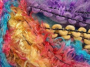 Fiber Content 50% Polyamide, 30% Wool, 20% Acrylic, Yellow, Turquoise, Salmon, Purple, Brand ICE, fnt2-59709