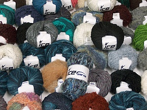 Winter Yarns This mixed lot includes a total of 2000 gr (70.5 oz.) yarn. There is no standard for ball weight. Also disregard any information on the labels. You will get what you see in the photo. Brand ICE, fnt2-59867