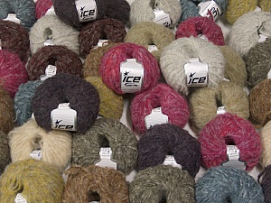 Kan Mohair This mixed lot includes a total of 2000 gr (70.5 oz.) yarn. There is no standard for ball weight. Also disregard any information on the labels. You will get what you see in the photo. Fiber Content 45% Acrylic, 25% Wool, 20% Mohair, 10% Polyamide, Brand ICE, fnt2-59879