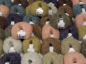 Kan Mohair This mixed lot includes a total of 2000 gr (70.5 oz.) yarn. There is no standard for ball weight. Also disregard any information on the labels. You will get what you see in the photo. Fiber Content 45% Acrylic, 25% Wool, 20% Mohair, 10% Polyamide, Brand ICE, fnt2-59881