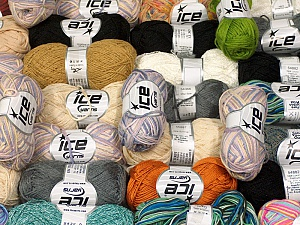 Summer Yarns This mixed lot includes a total of 2000 gr (70.5 oz.) yarn. There is no standard for ball weight. Also disregard any information on the labels. You will get what you see in the photo. Brand ICE, fnt2-59889