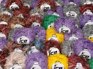 Eyelash Yarns This mixed lot includes a total of 2000 gr (70.5 oz.) yarn. There is no standard for ball weight. Also disregard any information on the labels. You will get what you see in the photo. Brand ICE, fnt2-59909