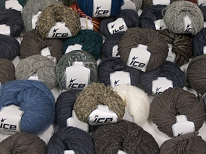 Fancy Yarns This mixed lot includes a total of 2000 gr (70.5 oz.) yarn. There is no standard for ball weight. Also disregard any information on the labels. You will get what you see in the photo. Brand ICE, fnt2-59924
