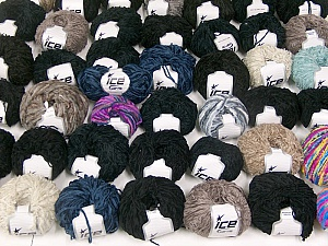 Chenille Types This mixed lot includes a total of 2000 gr (70.5 oz.) yarn. There is no standard for ball weight. Also disregard any information on the labels. You will get what you see in the photo. Brand ICE, fnt2-59944