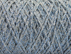 Fiber Content 90% Cotton, 10% Metallic Lurex, Light Grey, Brand ICE, Blue, fnt2-60138