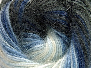 Fiber Content 60% Premium Acrylic, 20% Angora, 20% Wool, White, Brand ICE, Grey Shades, Blue Shades, Yarn Thickness 2 Fine  Sport, Baby, fnt2-60237