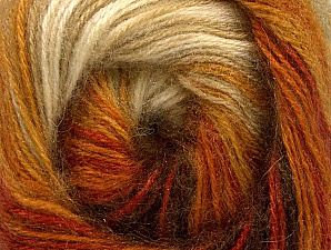 Fiber Content 60% Premium Acrylic, 20% Wool, 20% Angora, Orange, Brand ICE, Cream, Brown Shades, Yarn Thickness 2 Fine  Sport, Baby, fnt2-60240