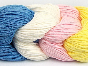 Fiber Content 50% Acrylic, 50% Cotton, Yellow, Light Pink, Brand ICE, Ecru, Blue, Yarn Thickness 3 Light  DK, Light, Worsted, fnt2-60267