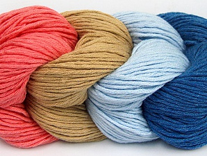 You will love the cotton & acrylic blend of Iceyarns Art color cotton. Art color cotton is a DK weight yarn in delightful 4 color combinations.<br>Each 100 gram hank is made up of 4 individual small hanks .Each small hank is 25 gr / 57 yds. You can simply separate small hanks.<br>Each color is separate. In this way,  you can start from the color you want and create your color combinations. Fiber Content 50% Acrylic, 50% Cotton, Salmon, Light Blue, Brand ICE, Camel, Blue, fnt2-60456
