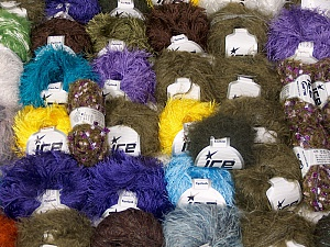 Eyelash Types This mixed lot includes a total of 2000 gr (70.5 oz.) leftover yarns. There is no standard for fiber content and weight. Also disregard any information on the labels. You will get what you see in the photo. Brand ICE, fnt2-60768