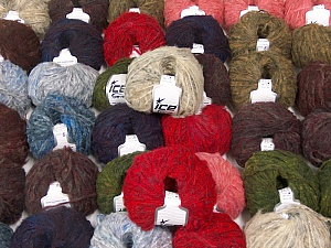 Kan Mohair This mixed lot includes a total of 2000 gr (70.5 oz.) yarn. There is no standard for ball weight. Also disregard any information on the labels. You will get what you see in the photo. Fiber Content 45% Acrylic, 25% Wool, 20% Mohair, 10% Polyamide, Brand ICE, fnt2-60771