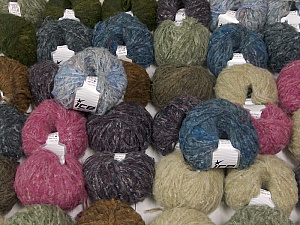 Kan Mohair This mixed lot includes a total of 2000 gr (70.5 oz.) yarn. There is no standard for ball weight. Also disregard any information on the labels. You will get what you see in the photo. Fiber Content 45% Acrylic, 25% Wool, 20% Mohair, 10% Polyamide, Brand ICE, fnt2-60772